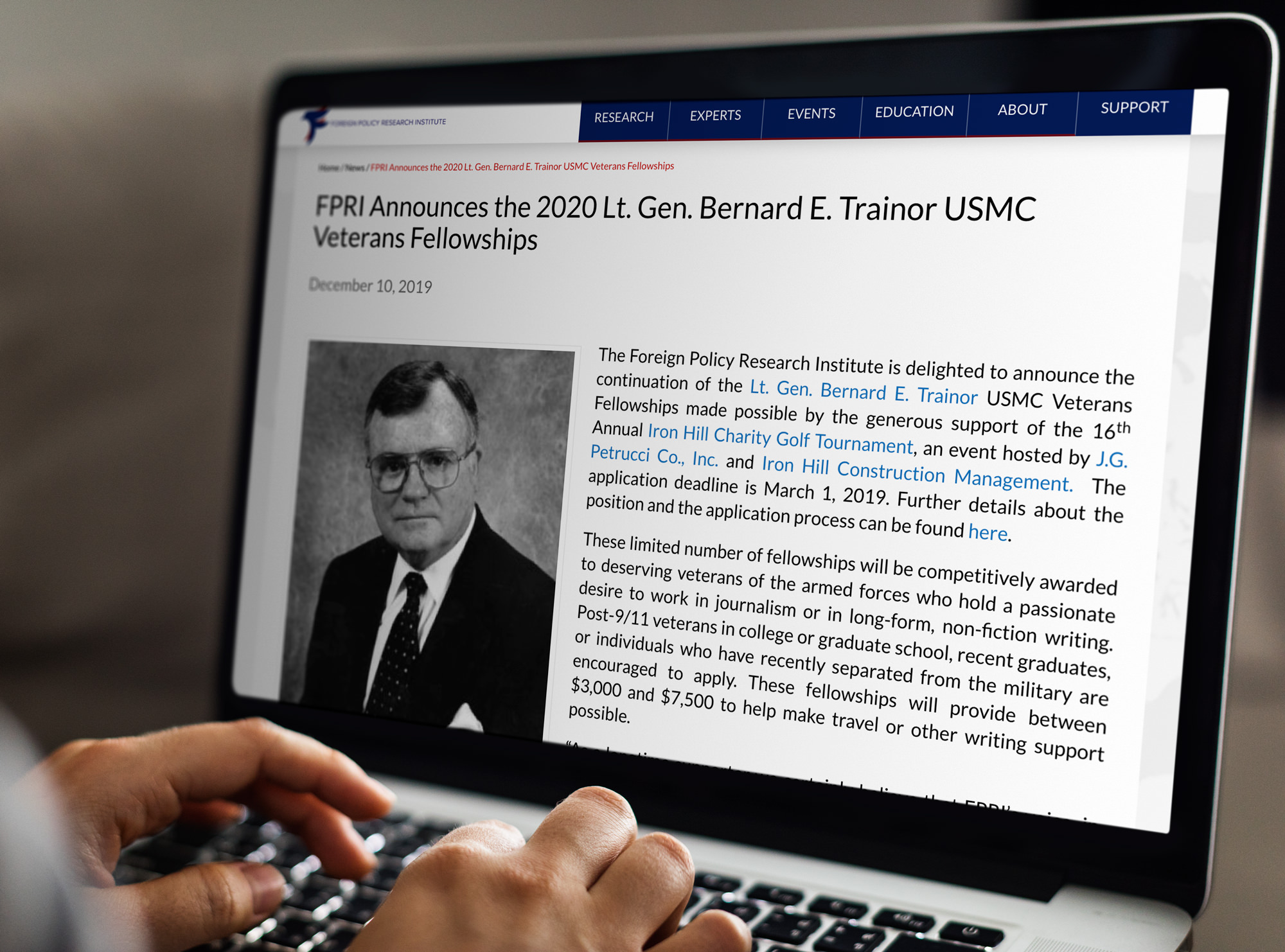 FPRI Announces the 2020 Lt. Gen. Bernard E. Trainor USMC Veterans Fellowships