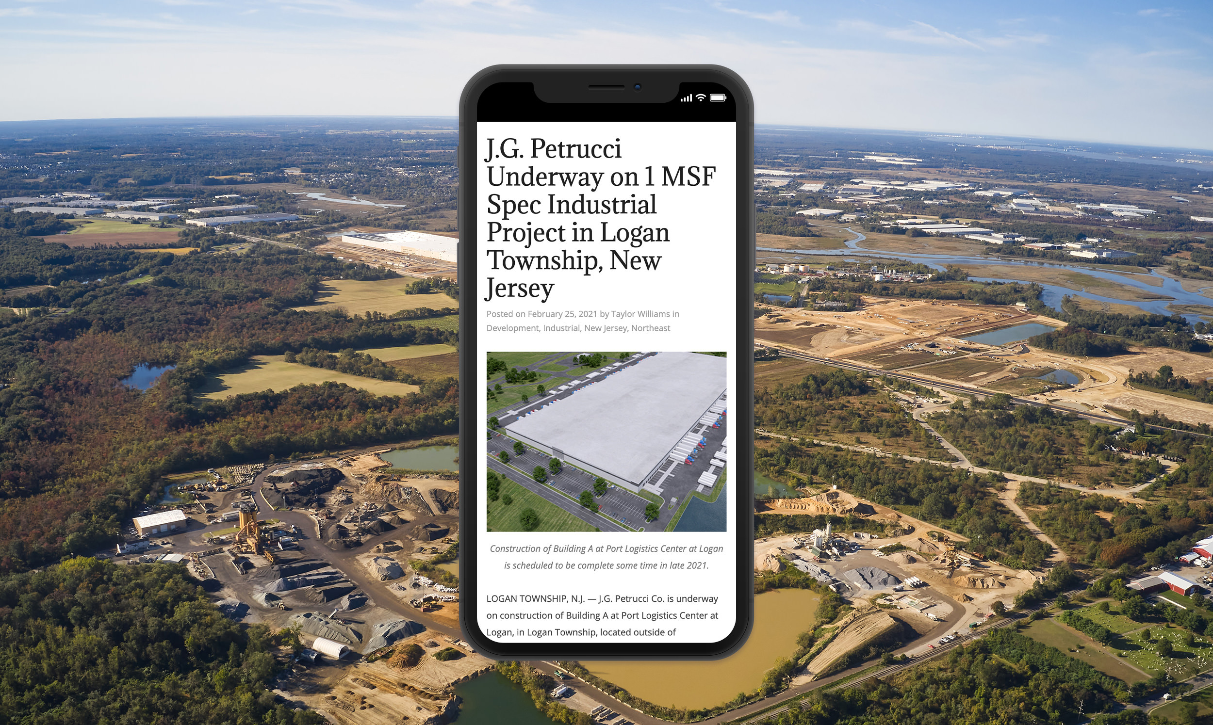 J.G. Petrucci Underway on 1 MSF Spec Industrial Project in Logan Township, New Jersey